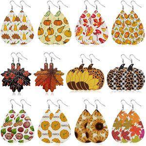 Leather Earrings for Women Set of 12